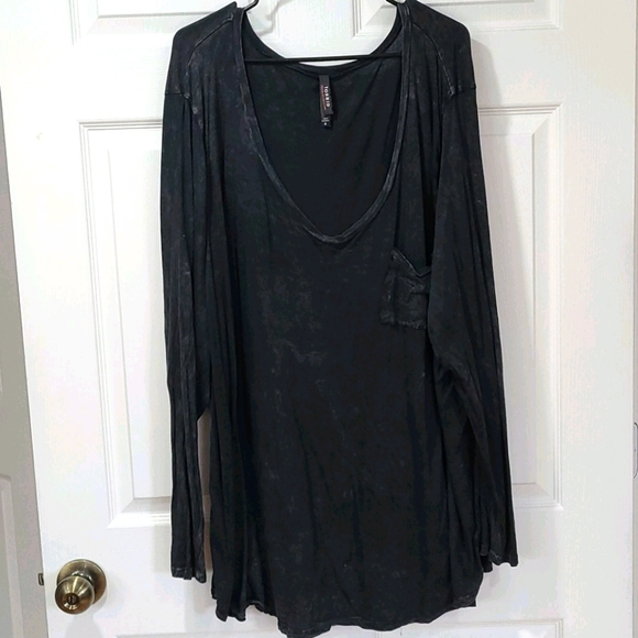 TORRID Washed Look V Neck Long Sleeve Tee